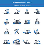 Human resource icon set,Blue version