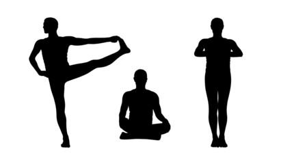 man practicing yoga silhouettes set 2