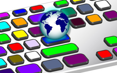 teclado multicolor con bola del mundo