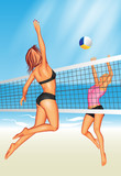 Two young women playing beach volleyball