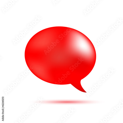 Red word speech on white