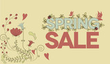 Vintage design poster with flowers and spring sale message