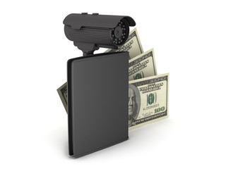 Dollar bills, leather wallet and video surveillance camera