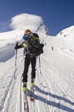 Touring skier in Swiss Alps