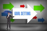 Goal setting against arrows pointing