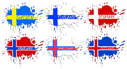 Scandinavian flags as spots