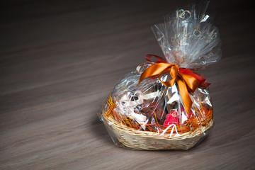 gift basket against wooden background