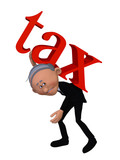 old businessman with TAX word