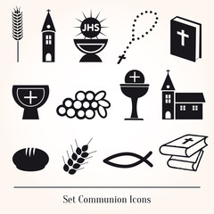 Set Illustration of a communion depicting traditional Christian