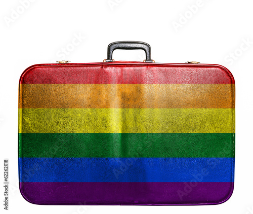 Vintage travel bag with flag of Gay