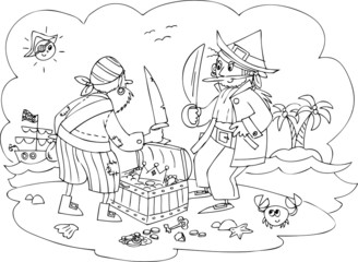 Two pirates fighting for treasure chest