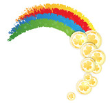 Rainbow and gold coins