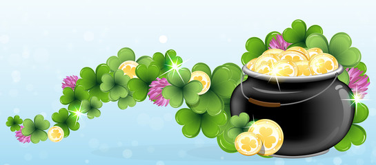 Pot with gold and shamrock clover