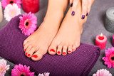 Fototapety schöne gepflegte weibliche füße mit rotem nagellack
