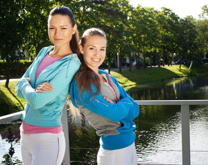 two sporty women outdoor