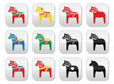 Swedish Dalecarlian, Dala horse vector buttons set