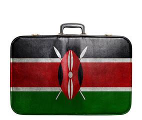 Vintage travel bag with flag of Kenya