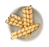 Rolled Chocolate Wafers In Bowl Top View