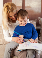 Mom drawing with child