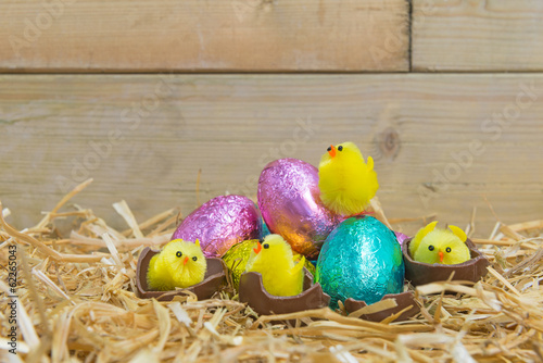 Easter chicks hatching from chocolate eggs