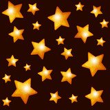 Seamless Pattern with Gold Stars on Dark Background.