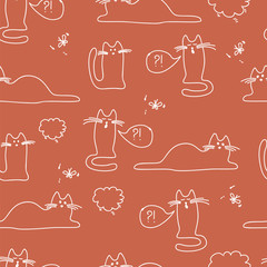 pattern with cats, funny, bright
