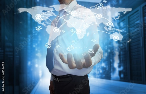 Businessman presenting map interface with email