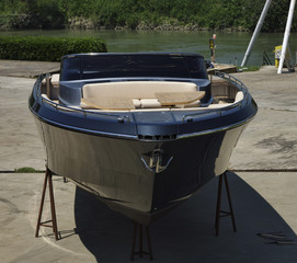 Italy, Fiumicino, luxury yacht ashore in a boatyard