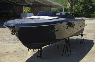 Italy, Fiumicino (Rome), luxury yacht ashore in a boatyard
