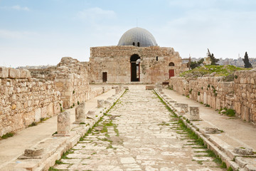 The Umayyad Palace at the roman citadel in Amman, Jordan