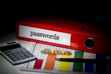 Passwords on red business binder