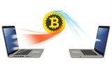 3d bitcoin with laptops exchanging currency