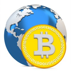 3d bitcoin with earth globe, global currency