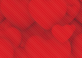 pattern lines on multiple red heart background