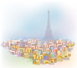 Vector colorful  Paris cityscape.