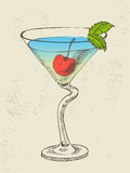 Hand drawn illustration of cocktail with blue curacao
