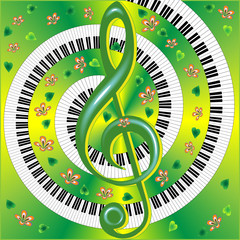 musical card with with treble clef
