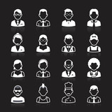 Business people avatar white icons on black background.