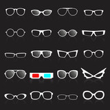 Glasses frame white icons on black background.