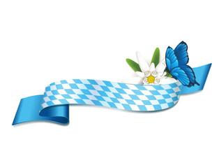 Frühlingsfest Banderole mit Edelweiß und Schmetterling