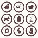 Easter Icon Symbol collection vector, grouped for easy editing.