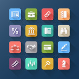 Colour flat icons for business and website design.