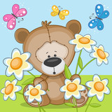 Bear with flowers