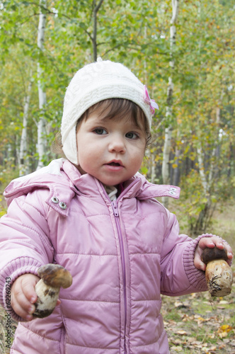 Girl in a birch forest holding a mushroom.