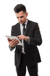 Businessman checking data in his ipad