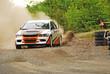 Leinwandbild Motiv Rally car in action - Mitsubishi EVO