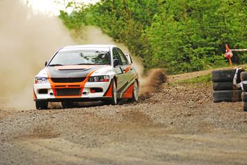 Rally car in action - Mitsubishi EVO
