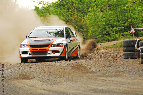 Poster Motorsport Rally car in action - Mitsubishi EVO
