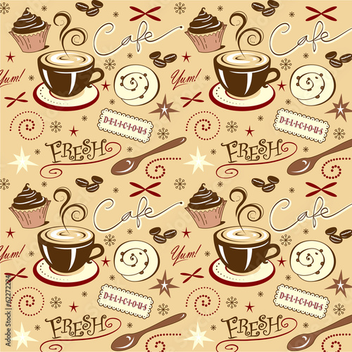 Vector Art Background Pattern Hot Fresh Coffee Sweets Warm