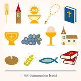Set icons communion catholic christian